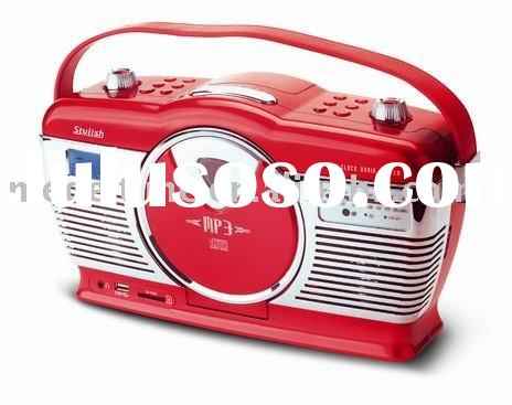 Retro Portable CD/MP3 Alarm Clock Radio with USB/SD Function,Retro CD Boombox,Portable CD Boombox