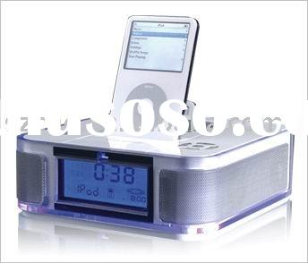 Speaker docking station with alarm clock for all generation iPods and iPhone