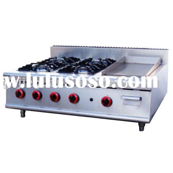 Stainless Steel Counter Top Gas Range with Grill