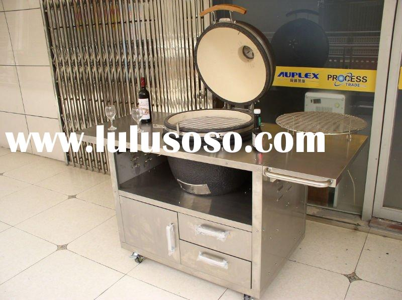Stainless steel table with drawer for kamado bbq grill