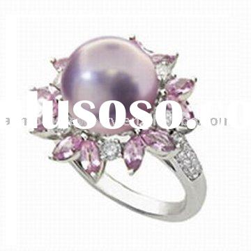 Sterling Silver Amethyst, CZ, Freshwater Pearl Ring