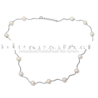 Sterling Silver Necklace With Freshwater Pearl Chain
