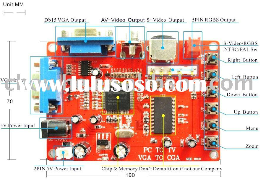 VGA to RGBS/CGA/EGA/AV/S video (PC to TV) video game converter PCB