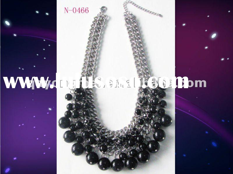 Vintage silver plating metal chain black pearl ball necklace fashion costume jewellery