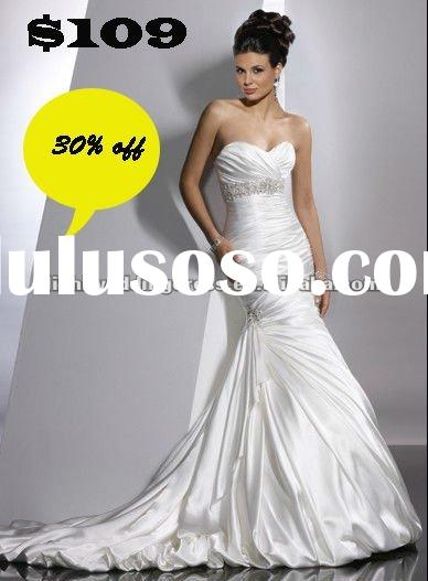 WS008 Custom-made Cheap Mermaid Satin Wedding Dress 2012 Hot Sale