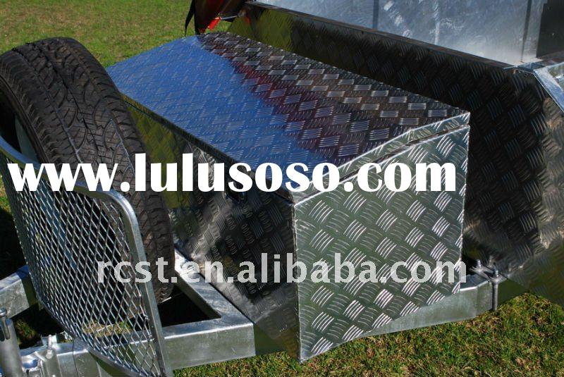 aluminum checker plate tool box on hot dipped galvanized steel checker plate camper trailer / tent t
