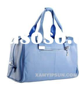 blue imitation leather travel bag