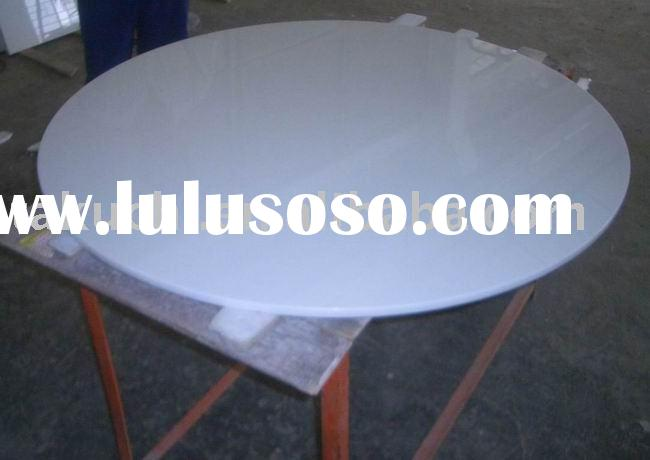 crystal white glass round table top
