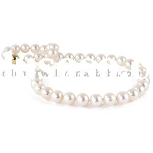 fashion white freshwater pearl necklace jewelry with gold clasp
