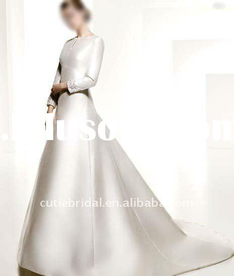 hot sale long sleeve satin wedding dress, wedding dresses 2785