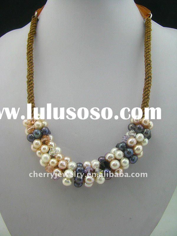 new design freshwater pearl necklace crystal necklace natural stone necklace braided cotton necklace