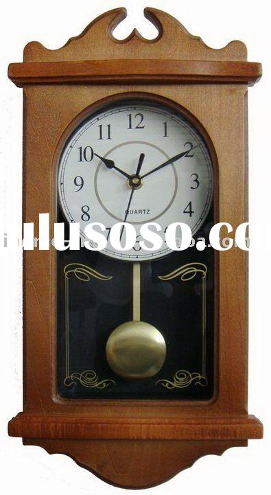 new design wooden antique pendulum wall clock (IH-M9101C)