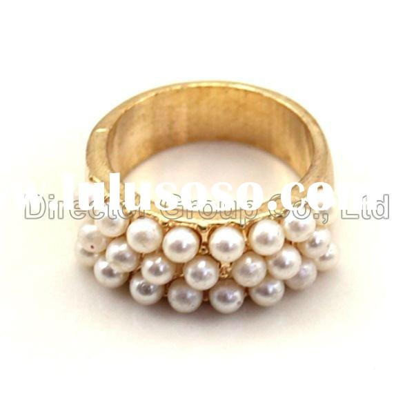 new fashion elephant new style silver plating pearl jewelry alloy ring