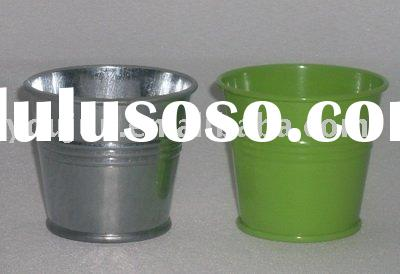round galvanized pail, mini metal flower pot,zinc pot