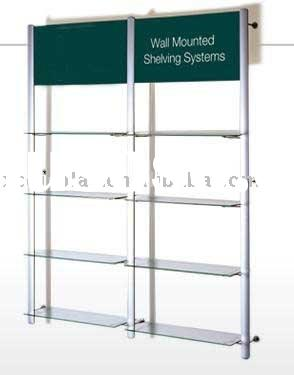 shop fitting wall mounted metal display shelves shelving with graphics header