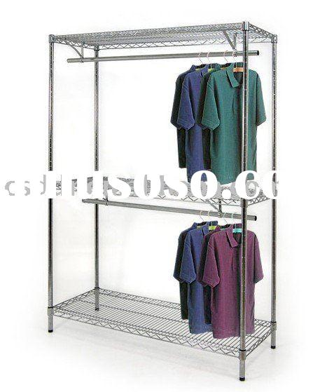 wire chrome shelving unit with 2 tier clothing rail