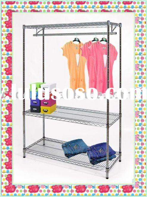 wire chrome shelving unit with clothing rail