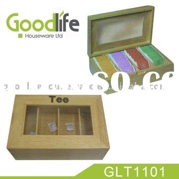 wooden tea bags box with transparent window