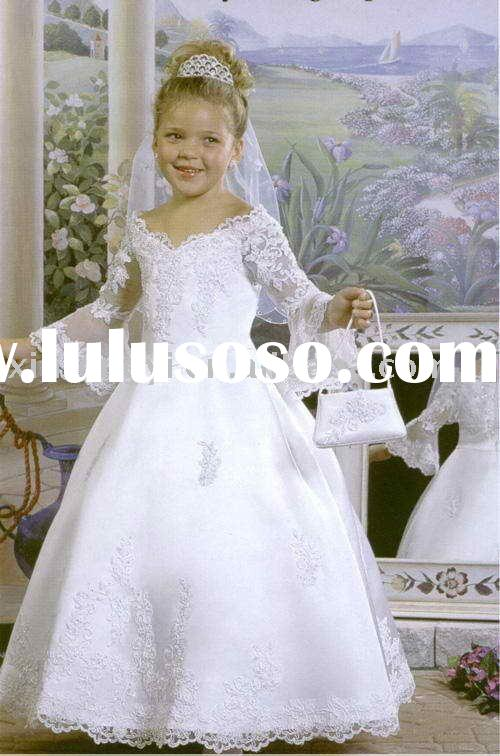 2011New style lace V-neck Flower girl Dress colorful for wedding