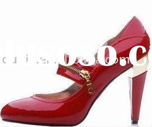 2011 New high heel ladies red dress shoes