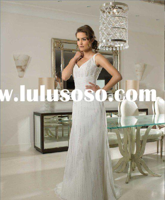 2011 V-neckline sleeveless vintage wedding dresses MFW-028