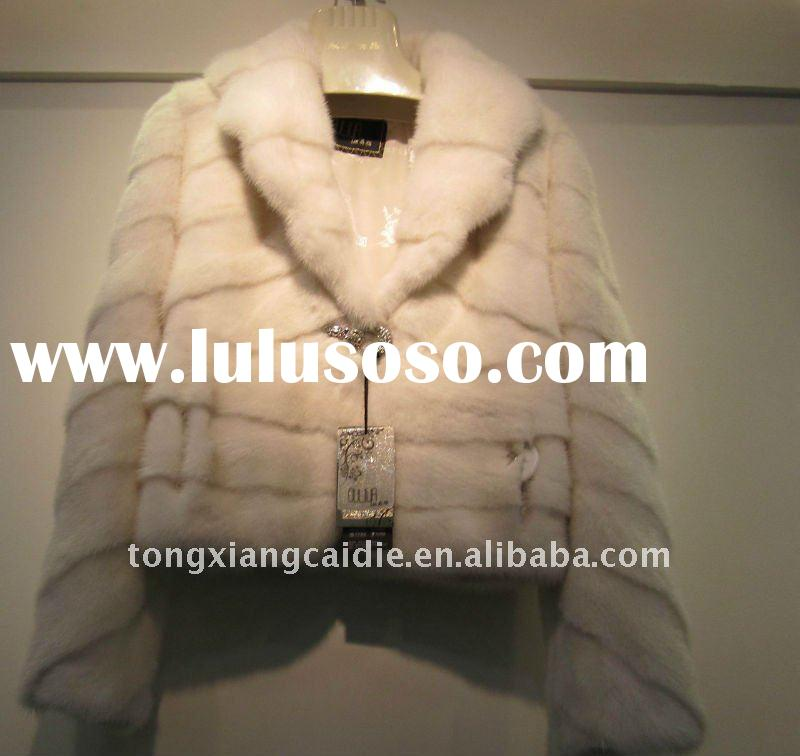 2011 new item white mink fur coat with round