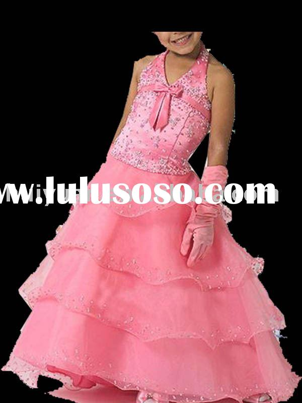 2011 popular full length flower girl dress