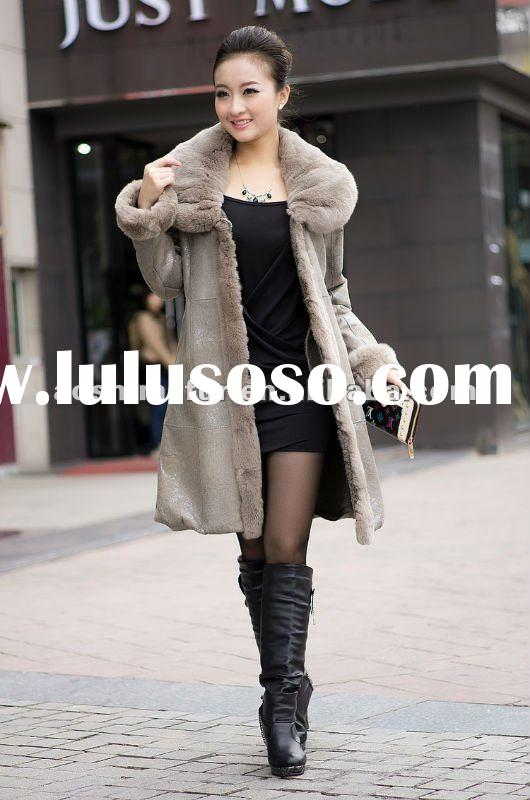 2012 High-quality fashional latest leather pearl lamb women's coat,ladies lamb clothes.