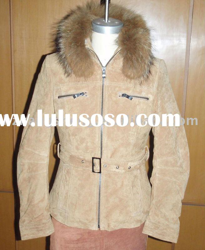 2012 LADIES FASHION SOFT SUEDE LEATHER JACKET WITH REAL FUR COLLAR,LEATHER GAMRENT,LEATHER JACKET