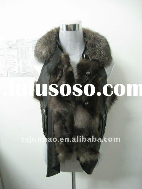 2012 WOMEN WARM FASHION FOX FUR AND SHEEP LEATHER GARMENT/COAT/JACKET/VEST/WAISTCOAT WITH FOX COLLAR