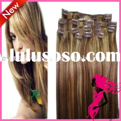 "24"" 100% clip in remy human hair extension 120g 8pcs medium brown mix dark blonde"