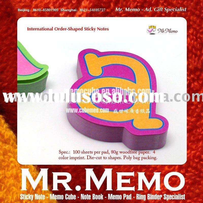 26 English alphabet shaped sticky note/memo pad/notepad/notebook/stationery