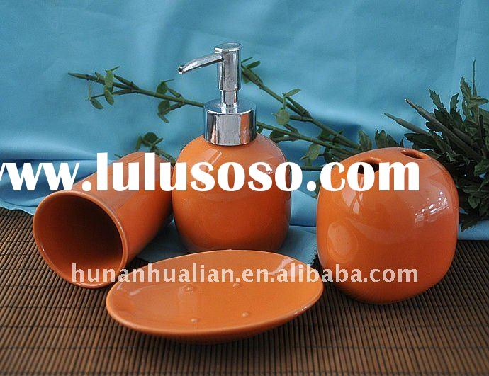4pcs ceramic orange bathroom accessories