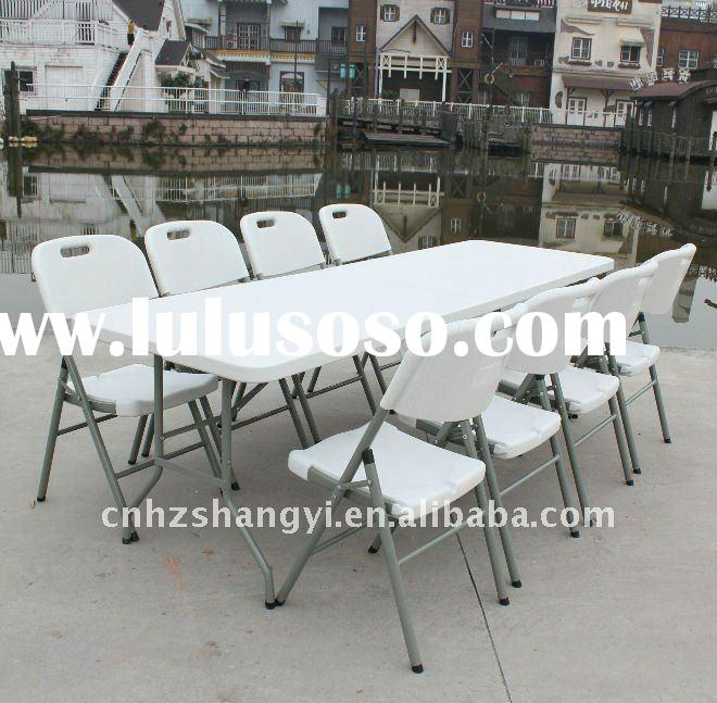 8ft rectangle outdoor folding table and chairs for banquet
