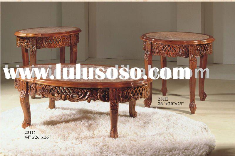 Antique hand carving coffee table with marble top,antique furniture