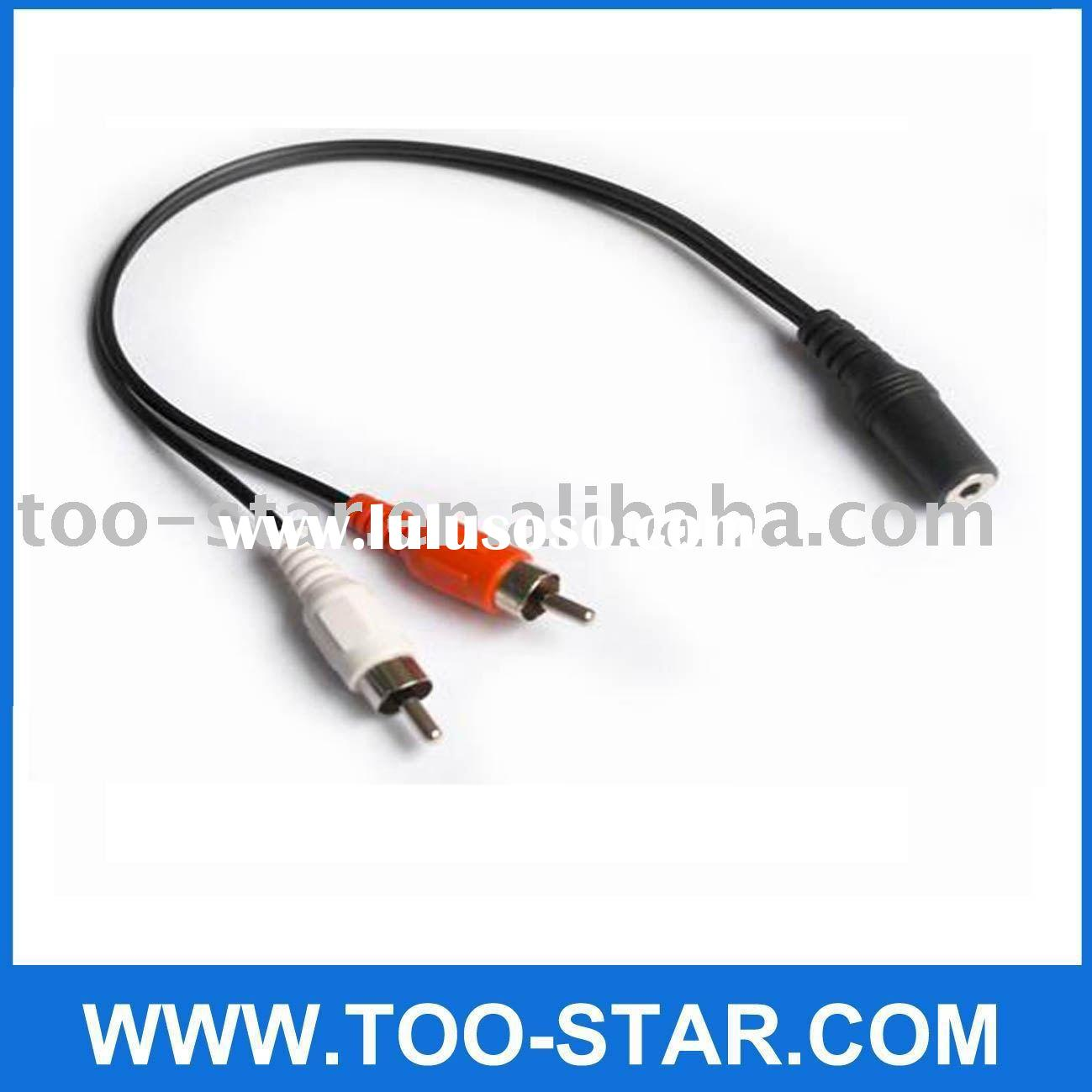 Audio Y Cable Adapter 2 RCA Male to 3.5mm Female Jack