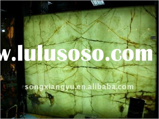 Backlit Green onyx marble composite glass Curtain Wall