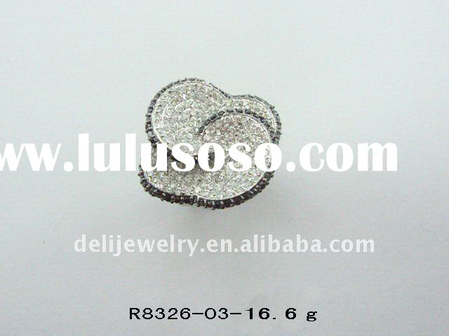 Big Flower Fashion sterling silver couple ring
