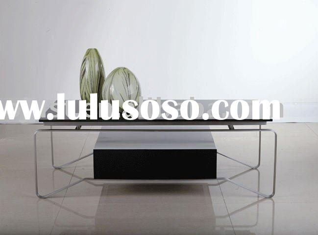 Black Silk Glass And Metal Coffee Table