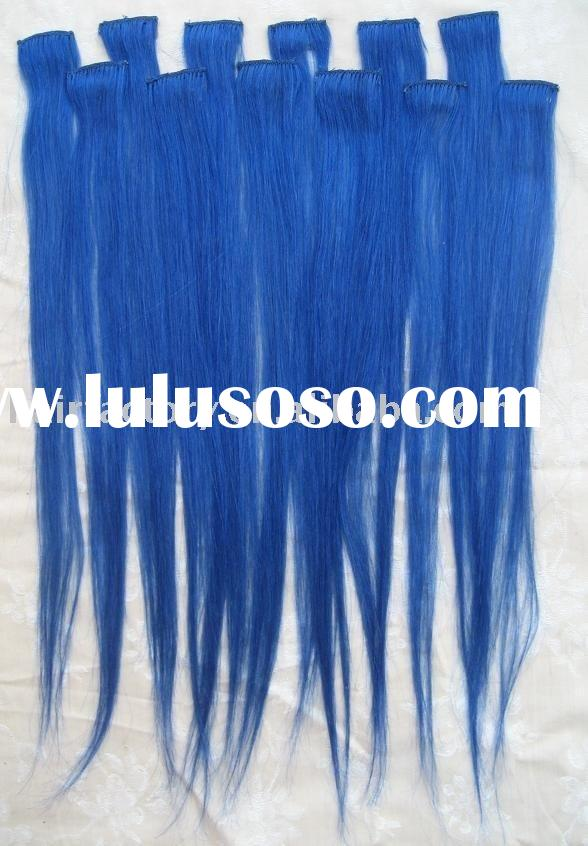 Blue 100% Human Hair Clip-In Extensions Weft,Clip on hair extension