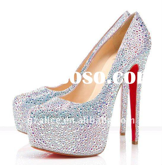 CL208 New design very beautiful high-heel lady dress shoes,crystal red sole fashion shoes ,silver