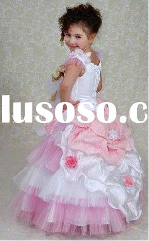 Cute toddler ball gown hot pink and white flower girl dresses