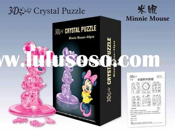DIY Crystal Puzzle.Minnie Mouse 3D Crystal Puzzle. Cartoon Minnie Puzzle