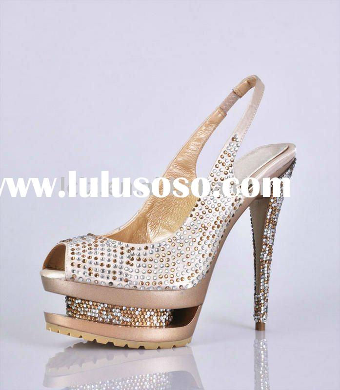 Double platform crystal diamond high heel shoes women shoes GSL009 free shipping