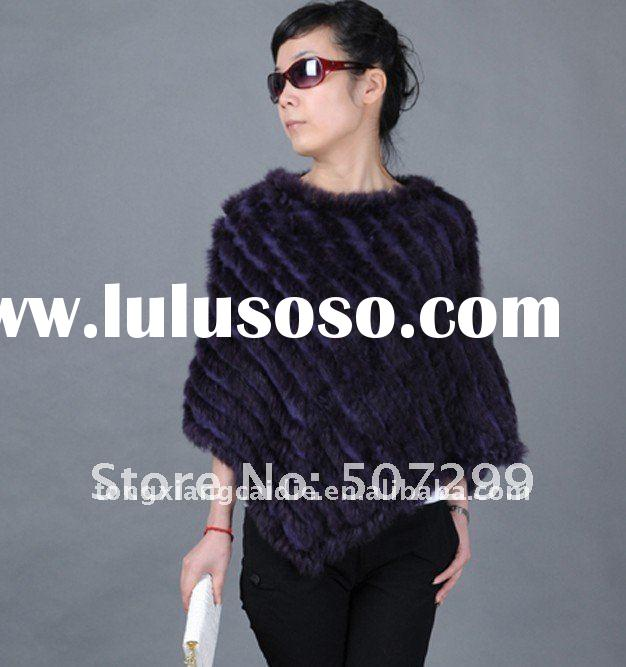 Europe Hot sale kintted rabbit fur ponchos for girls