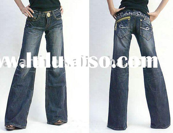 Fashion ladies jeans pants with big button