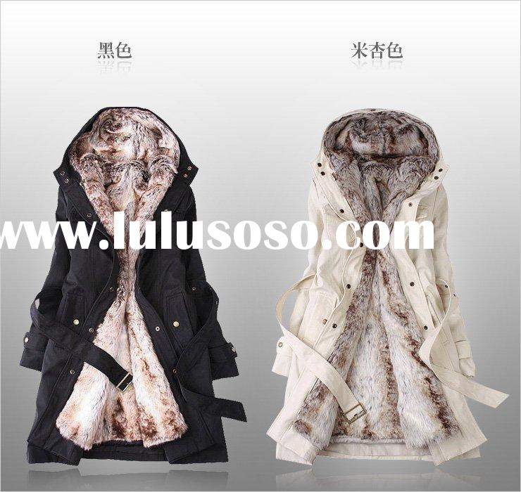 Faux fur lining women's fur coats winter warm long coat jacket clothes wholesale