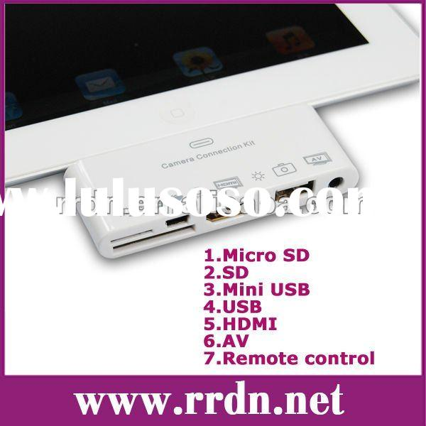 For iPad1/2/iPhone 4s 7in1 Camera connection kit iRC-08 with Remote control(HDMI/AV/SD/Micro SD/USB/