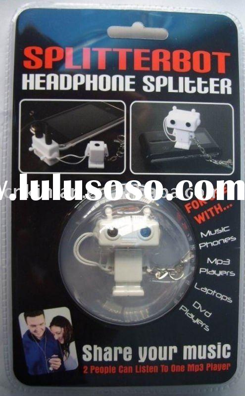 For iPhone / For iPod 3.5mm Robot 2 way Audio / Headphone Splitter / Adapter