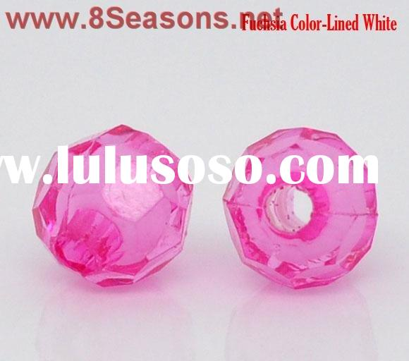 Fuchsia Color-Lined White Acrylic Faceted Round Beads 6mm